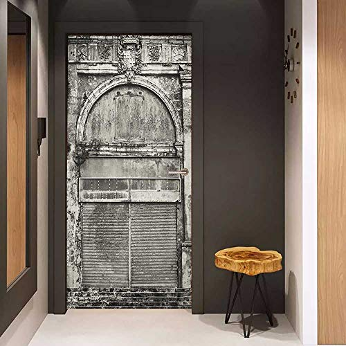 Onefzc Door Sticker Mural Rustic Monochrome Old Closed Store Front with Jalousie and Classic Medieval Touch Historic Photo WallStickers W35.4 x H78.7 Grey ()