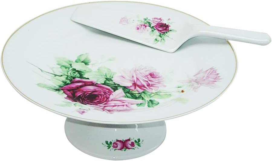 "(D) Royalty Porcelain Round Cake Stand 10.5"" White with Rose Old English Style 51rLyi99jVL"