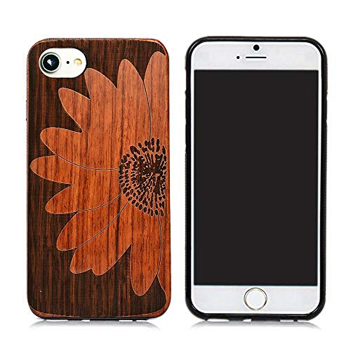 Natural Wood Back Cover Unique Natural Solid Wood Engraving Pattern TPU Bumper Protective Wooden case Compatible with iPhone 6S iPhone7 iPhone8, iPhone 7 Case, iPhone 8 Case ()