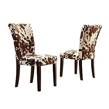 Home Creek Julian Black Cowhide-Print Side Chairs – Set of 2