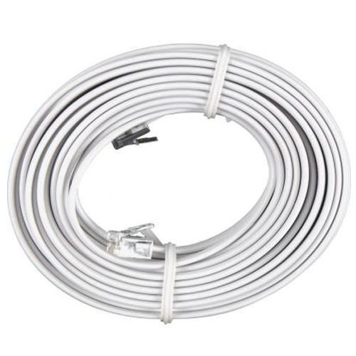 100' Modular 4c Line (100 FT Feet RJ11 4C Modular Telephone Extension Phone Cord Cable Line Wire White by Azaleahome)
