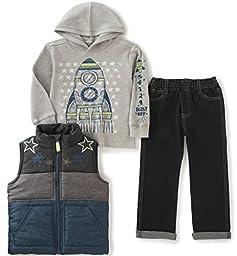 Kids Headquarters Little Boys 3 Pieces Vest Set - Kangaroo Pockets, Gray, 7