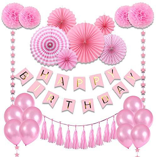 Pink Birthday Decorations Party Supplies for Girls,Happy Birthday Banner, Stars Paper Garland, Balloons, Tassels, paper flower ball, Pink Banner, Pink Fiesta Hanging Paper Fan Flower