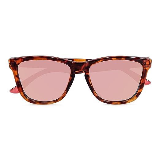 CORAL Sunglasses - ROSETTA - Gafas de sol carey y lentes espejo revo oro rosa polarizadas. Acabado mate.