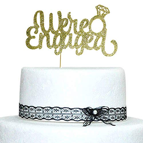 SWEETTALA We're Engaged with Diamond Ring Cake Topper Gold Glitter for Wedding, Engagement, Bachelorette Party Decorations