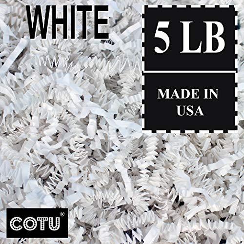 COTU (R) 5 LB White Crinkle Shred Gift Basket Shred Crinkle Paper Filler Bedding (80 oz) in a Box