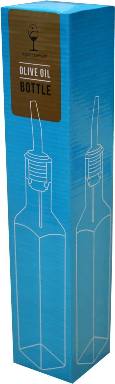 Argon Tableware Square Olive Oil/Vinegar Bottle With Tapor Pourer - Gift Boxed - 500ml (17oz)