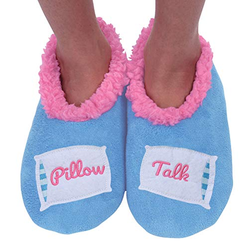 Pillow Talk Pattern - Snoozies Womens Classic Splitz Applique Slipper Socks | Pillow Talk | Large