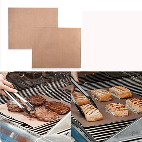 Gillberry New Kitchen Copper Chef Grill and Bake Mats Outdoor BBQ Tools 2Pcs/Pack