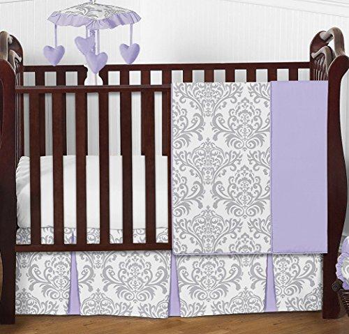 Elizabeth Crib Bedding (Lavender, Gray and White Elizabeth Damask Print Baby Bedding Collection Girl 4 Piece Crib Set Without Bumper)