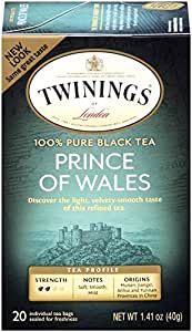 Twinings Black Tea, Prince of Wales, 20 Count Bagged Tea (6 Pack)