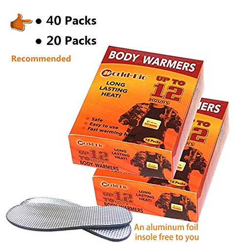 WORLD-BIO Body Warmers Menstrual Cramps Heating Pads with Adhesive Backing, Natural Warm Patch Gives 8 Hours Warm - 40 Packs