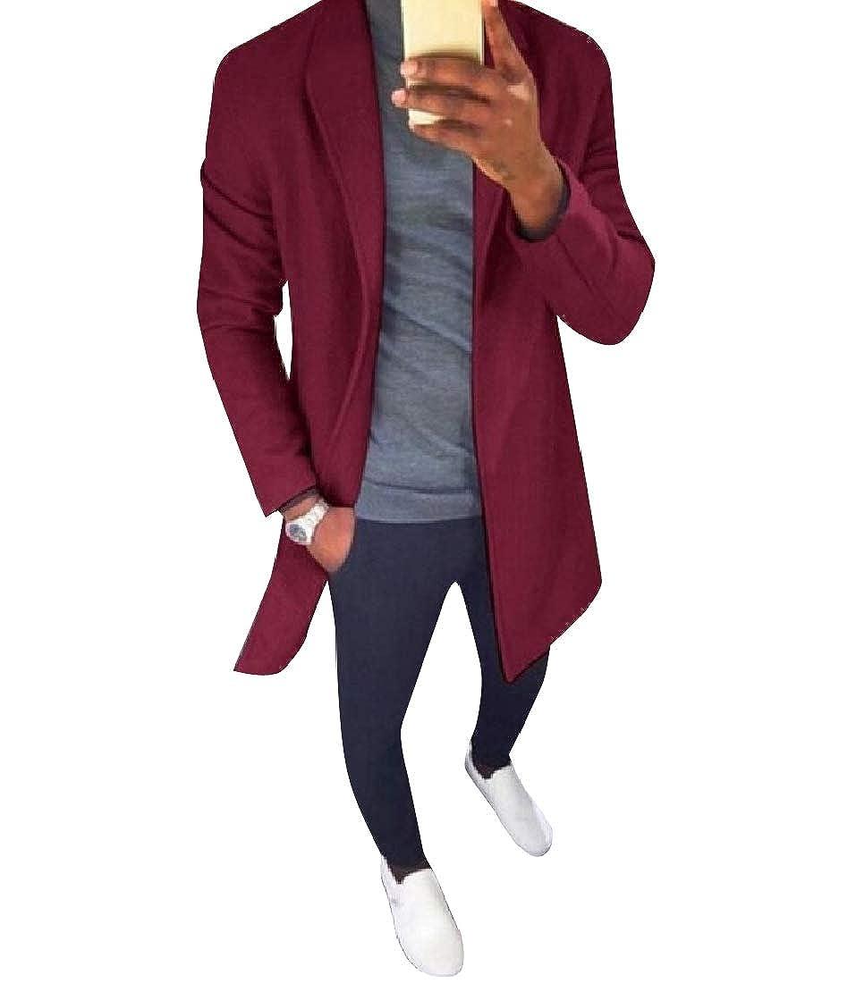 Abetteric Men Plus-Size Fall Winter Solid Open Front Mid Long Parka Jackets