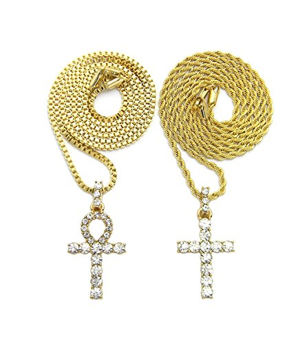 Iced Out Ankh, Cross Pendant 24
