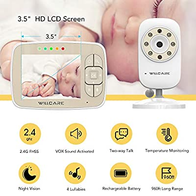 "Baby Monitor, Video Baby Monitor 3.5"" Large LCD Screen, Baby Monitors with Camera and Audio Night Vision,Support Multi Camera,ECO Mode,Two Way Talk Temperature Sensor,Built-in Lullabies (Beige)"
