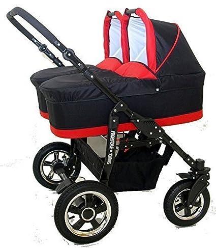 Carro gemelar 3en1. 2 capazos + 2 sillas + 2 grupo 0 + accesorios (