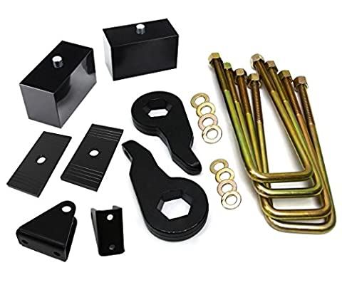 Chevy Silverado 1500HD 2500HD 3500HD 2wd 4wd Full Suspension Leveling Kit 1 to 3 Inch Front Lift Torsion Keys + 1 Inch Rear Lift Blocks + Shock Extenders + Shims