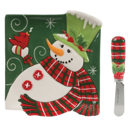 Holly Hat Snowman Collection, Snack Plate with Spreader
