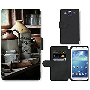 Hot Style Cell Phone Card Slot PU Leather Wallet Case // M00152994 Old Bottle Window Dust Dusty // Samsung Galaxy S3 S III SIII i9300