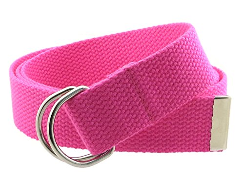 Pink D-ring Belt - Thin Web Belt Double D-Ring Buckle 1.25