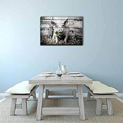 Pigs Canvas Wall Art - Pig with Lucky Four Leaf Clover on Wood Style Background - Gallery Wrap Modern Home Art   Ready to Hang - 12x18 inches