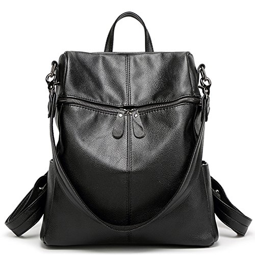Women & Girls PU Leather Backpack Purse Fashion Casual Shoulder Bag (Black)