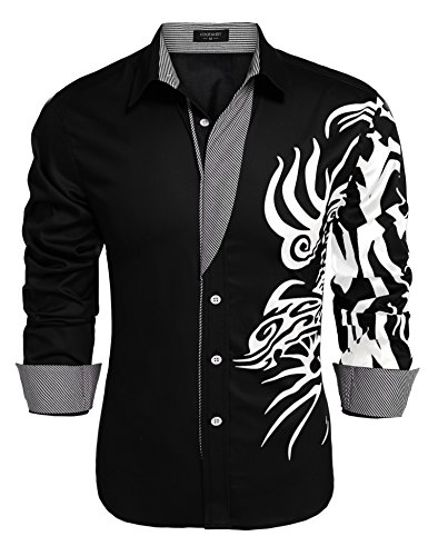 COOFANDY Men's Print Button Down Dress Shirt Fashion Long Sleeve Casual Shirts, Black 1, XX ()