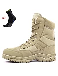 AiDELi Men Work Boots Men,Fire Safety Military Tactical Boots,Tall Ankle Cuff+ Side Zipper