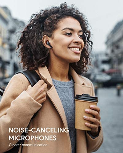 AUKEY True Wireless Earbuds, Bluetooth 5 Headphones with Immersive Sound, 30-Hours Playtime, USB C Quick Charge, IPX6 Water-Resistant, Noise Cancelling Mics Earphones for iPhone and Android, Black