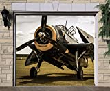 Airplane Full Color Covers Billboard 3D Effect Print Single Garage Door Decor Garage Banner Door Plane Mural Made in the USA Size 83 x 96 inches DAV157