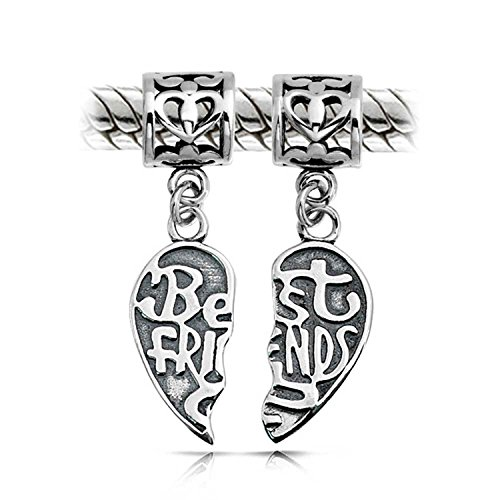 Bff Best Friends Forever Puzzle Two Piece Split Heart Shape Dangle Bead Charm 925 Sterling Silver Fits European - Charm Heart Split