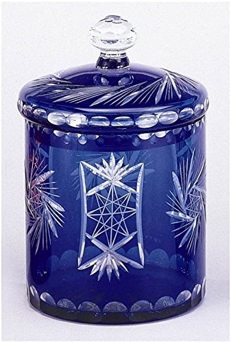 AA Importing Decorative Storage Jar in Cobalt Blue Overlay on Clear Cut Glass ()