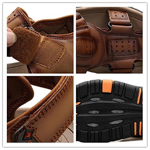 Dark Walking da Brown velcro Beach Trekking Closed Scivoli Walking Taglia 44 a Outdoor Sandali traspiranti vera in Antiscivolo uomo Toe Summer EU44 Scarpe pelle con 38 brown NSLXIE qz5pwOS8n