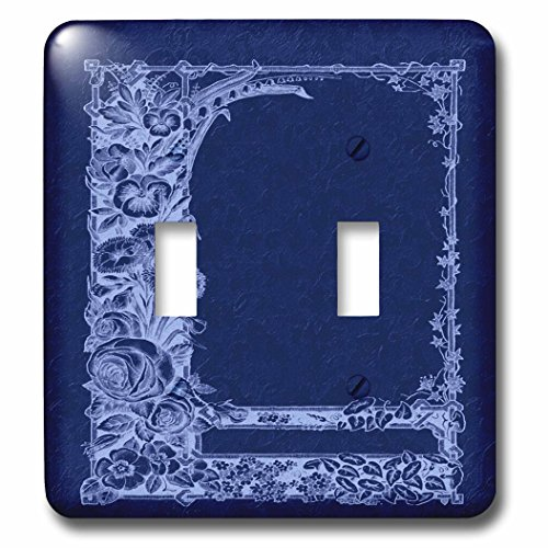 3dRose lsp_54083_2 Monotone Floral Trellis Design In Negative On A Cobalt Blue Damask Background Toggle switch