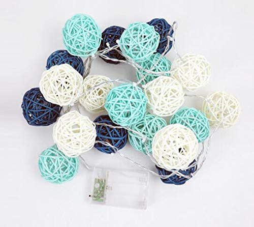COTW Handmade Rattan Balls Decorative String Lights Blue White Light Battery Power Safe Easy Install Led Ball Light For Badroom Patio Wedding Garden And Parties -Blue and White