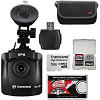 Transcend DrivePro 230 1080p HD Wi-Fi GPS Car Dashboard Video Camera with Suction Cup & 16GB Card + Case + Reader + Kit