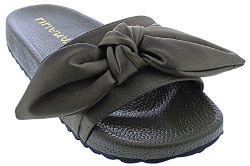 Liliana Nomi-7 Kvinner Flip Flop Bue Satinert Glide Slip On Flat Sandal Sko Tøffel Oliven Oliven