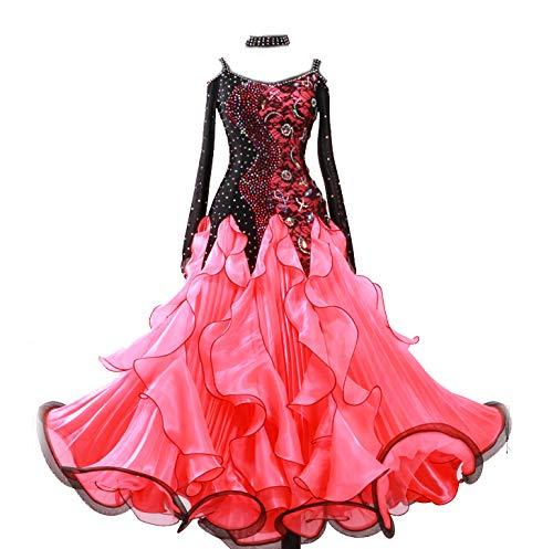 garudaサイズメイドオーダー高級ドレス 社交ダンス衣装競技ワンピース ボリューム波スカート 奏会 舞台衣装 赤色 B07KRBPDBX 赤 サイズオーダー