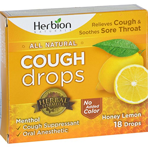 Throat Lemon Sore Natural (Herbion Naturals Cough Drops - All Natural - Honey Lemon - Relieves Cough and soothes sore throat - Gluten Free - Vegan - 18 Drops (Pack of 2))