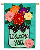 Cheap Evergreen Welcome Y'all Polka Dot Flowers Double-Sided Burlap House Flag- 28″ W x 44″ H