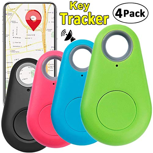 (4 Pack Smart GPS Tracker Key Finder Locator Wireless Anti Lost Alarm Sensor Device for Kids Dogs Car Wallet Pets Cats Motorcycles Luggage Smart Phone Selfie Shutter APP Control Compatible iOS Android)