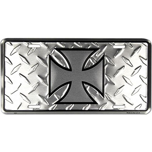 Signs 4 Fun SL2691 Iron Cross Diamond License Plate