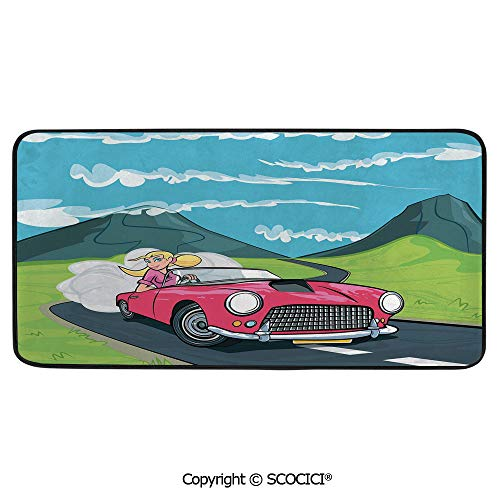 Soft Long Rug Rectangular Area mat for Bedroom Baby Room Decor Round Playhouse Carpet,Cars,Blonde Girl Driving a Sports Car Through The Country in Cartoon,39