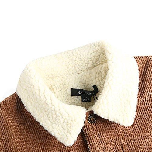 HaoDuoYi Womens Fashion Faux Fur Collar Corduroy Coat Winter Jacket(XXL) by HaoDuoYi (Image #6)