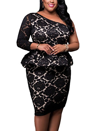Lalagen Women's Plus Size One Shoulder Floral Lace Evening Party Peplum Dress Black L