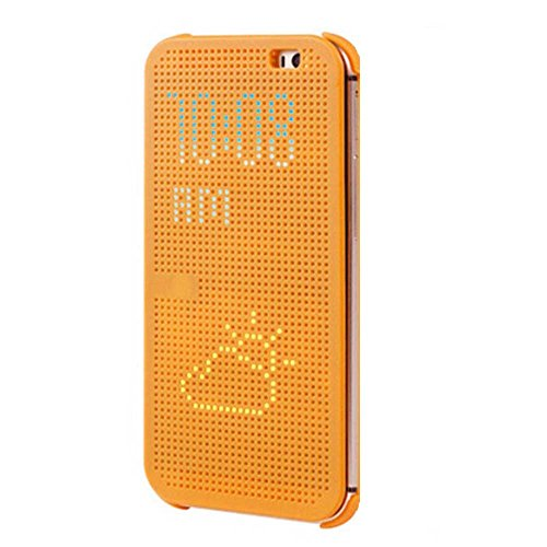 Fashion Dot View Case Smart Flip Cover for New HTC One M8 (Yellow)