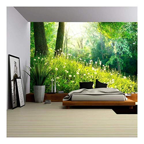 wall26 - Spring Nature Beautiful Landscape Green Grass and Trees - Removable Wall Mural | Self-Adhesive Large Wallpaper - 66x96 inches