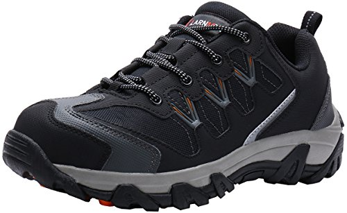 LARNMERN Steel Toe Shoes Men, Safety Work Outdoor Puncture Proof Footwear Industrial & Construction Shoe (11, Black and Grey)