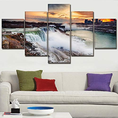 SHUII Canvas Prints Poster Home Decor Wall Art 5 Piece Landscape Niagara Falls Paintings for Living Room Modular Pictures Framework Framed 30x40cm 30x60cm ()