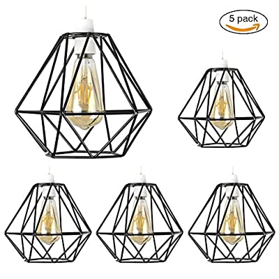 """Vintage Pendant Light, Motent Industrial Modern Minimalist Diamond Shpaed Cage Hanging Lamp. Creative Iron Wrought 1-Light DIY Lighting Fixture with No Bulb, 7.8"""" Dia for Kitchen Loft Bedroom - Silver"""